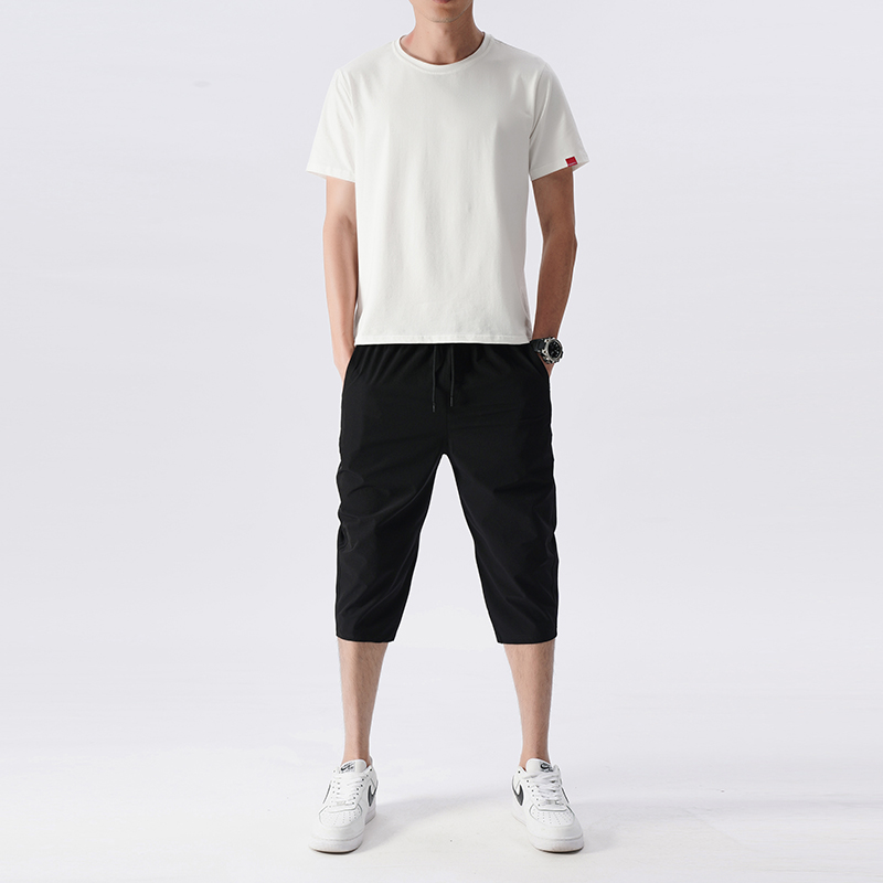 2件套夏季短裤男士七分裤修身中裤休闲裤薄款7分裤速干弹力套装