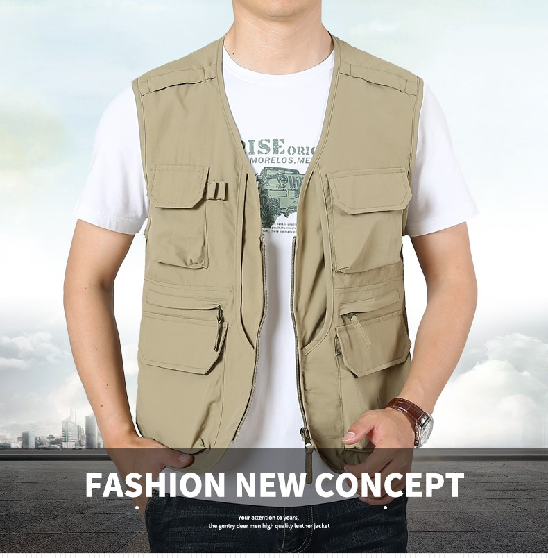 Swsy spring mens leisure comfortable slim vest outdoor travel sports jacket comfortable vest with multiple pockets.