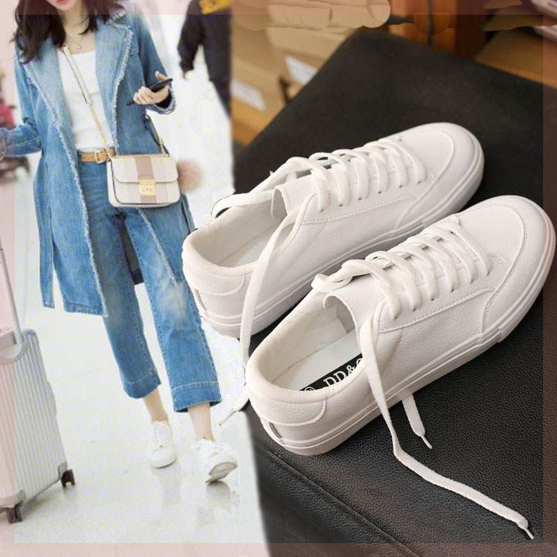 Versatile Korean board shoes winter Velcro small white shoes versatile flat bottomed lazy spring clapping high top buckle