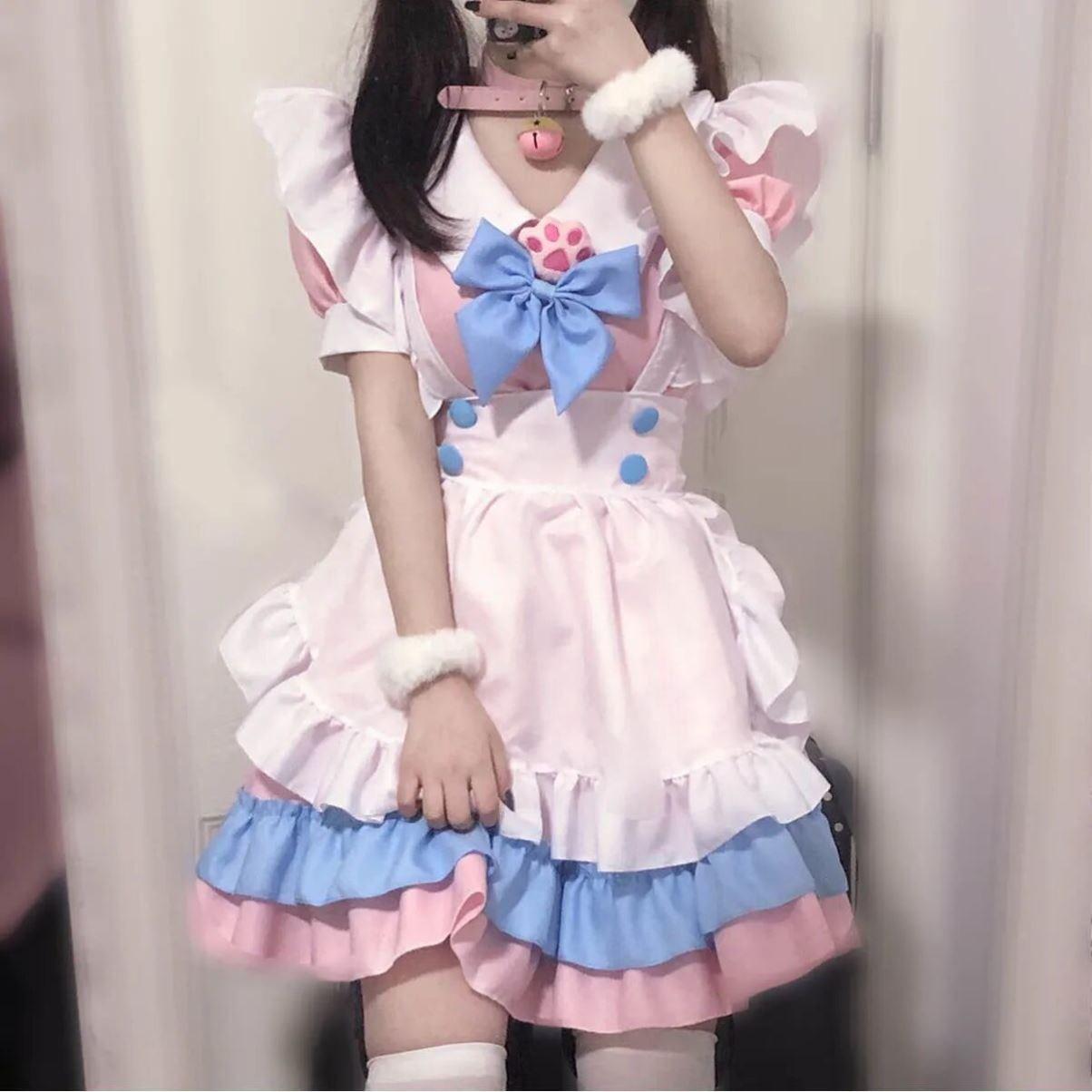 S-4XL大码女仆装 超萌大蝴蝶结洛丽塔连衣裙 女装大佬粉蓝可爱裙