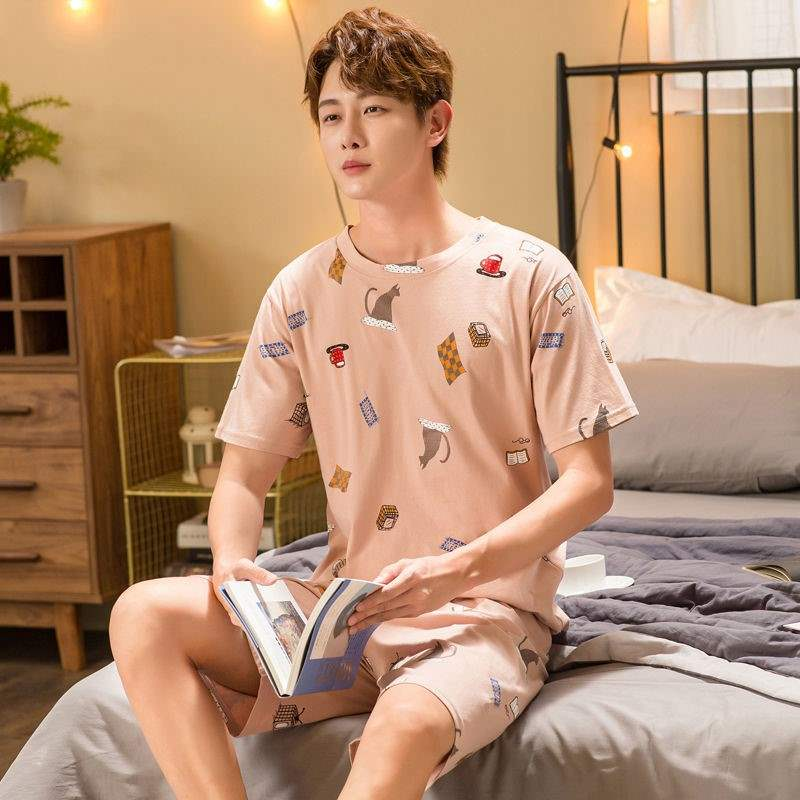 Mens pajamas Summer Cotton Short Sleeve cartoon youth mens summer thin cotton home clothes student suit