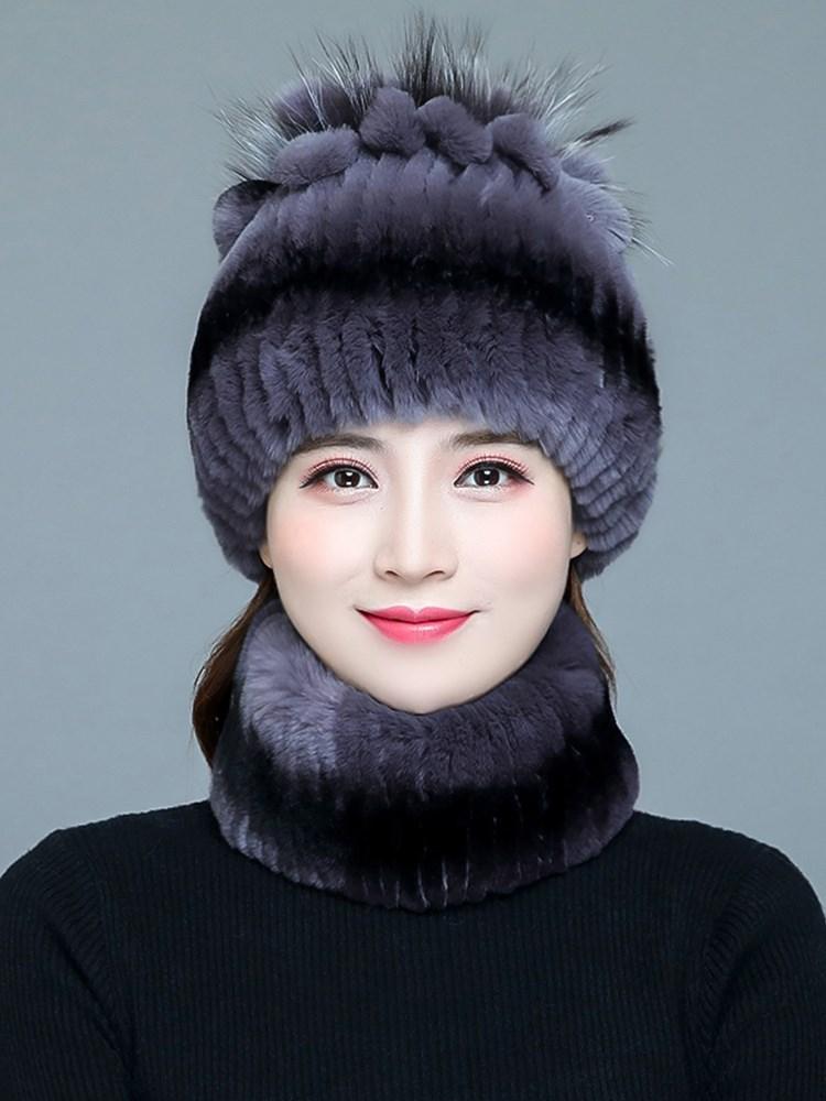 皮草帽子韩版冬天女保暖围脖妈妈中老年人加厚獭兔毛帽子女秋冬季