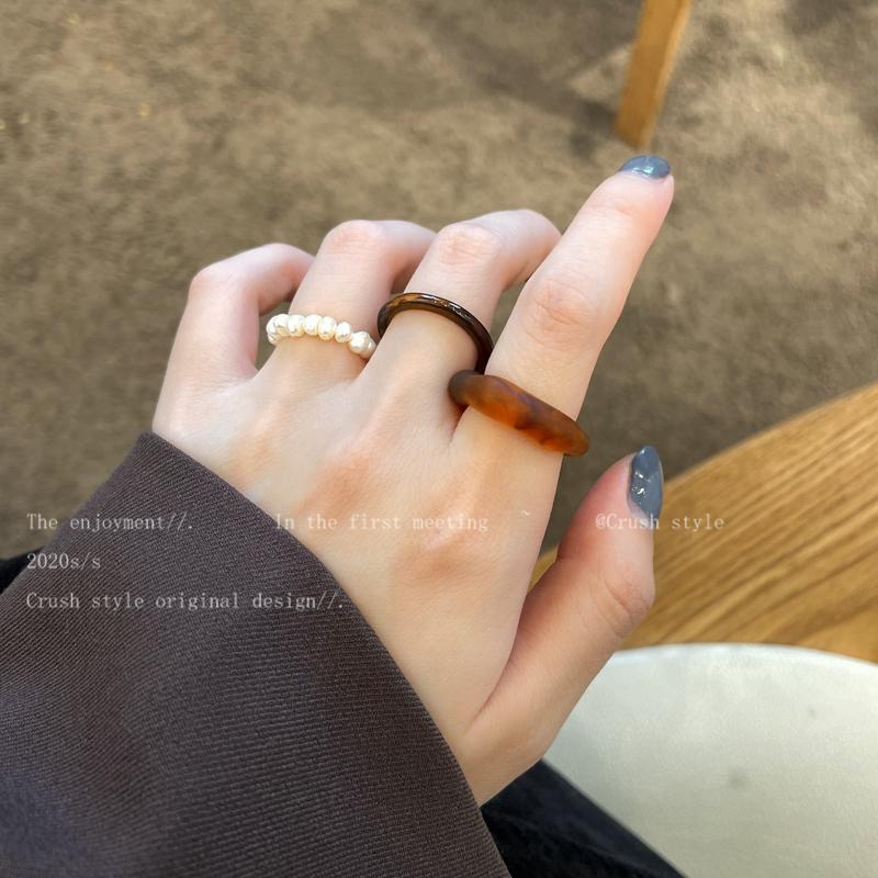 韩国创意树脂套装戒指小众设计感时尚简约百搭食指指环气质网红潮