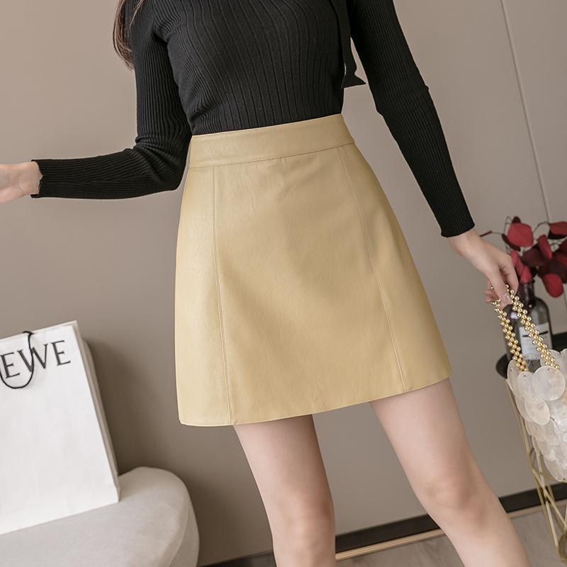 Womens PU leather skirt 2021 spring and autumn new high waist slim pants skirt slim A-line short skirt leather skirt