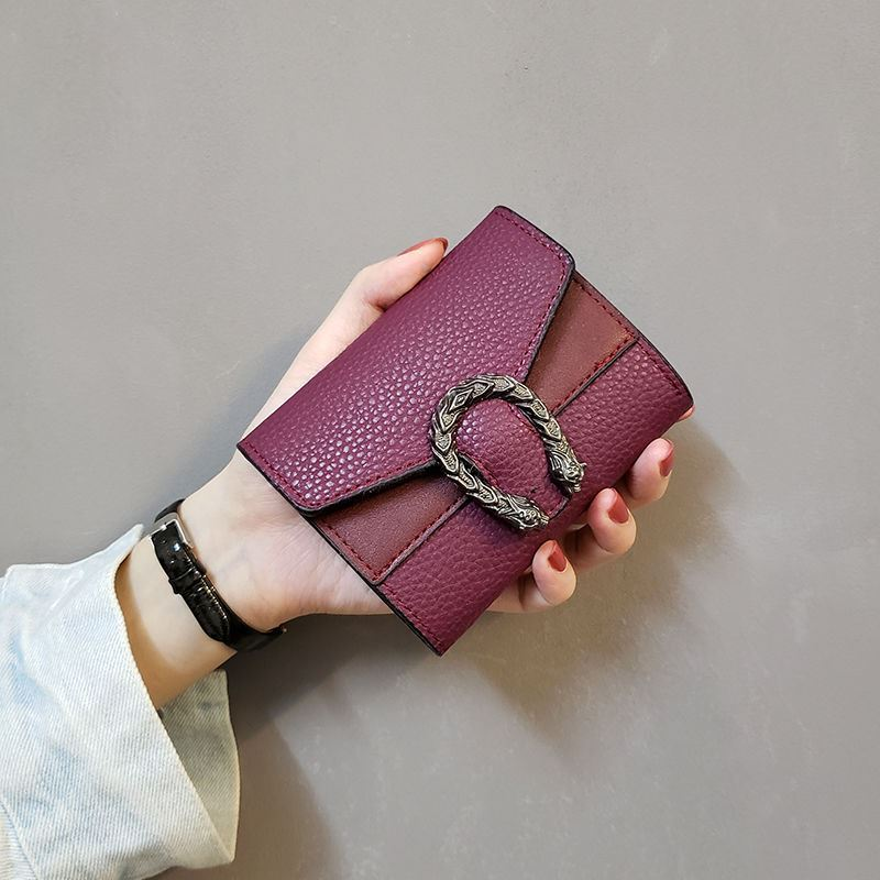 复古手拿零钱包ins新款日系小清新纯色个性零钱夹女士皮夹子搭扣
