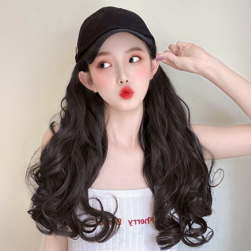 连帽子头发一体带头发的帽子懒人有戴假发真发自然时尚女秋冬天季