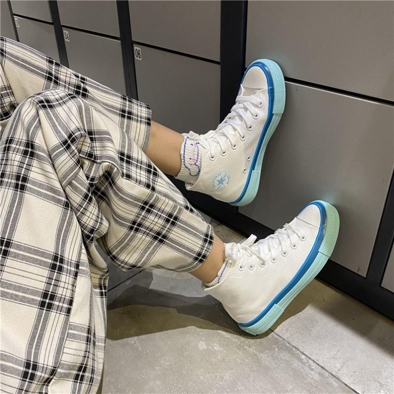 高邦帆布鞋女2020抖音同款轻便帆布鞋女夏网红同款风格韩式创意