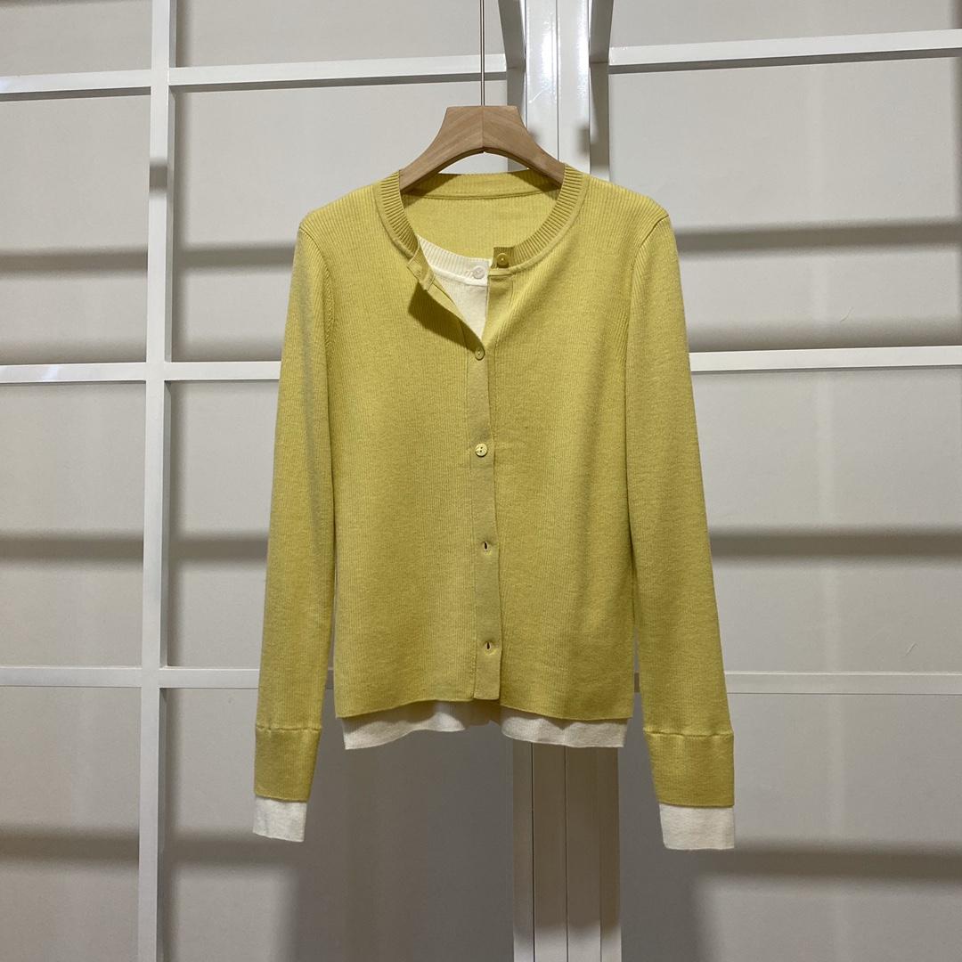 伊芙丽开衫薄款针织外套秋装2021年新款女早秋女装假两件针织衫女