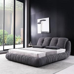 北欧布艺床可拆洗 布床现代简约婚床主卧2米2.2米大床灰色个性床