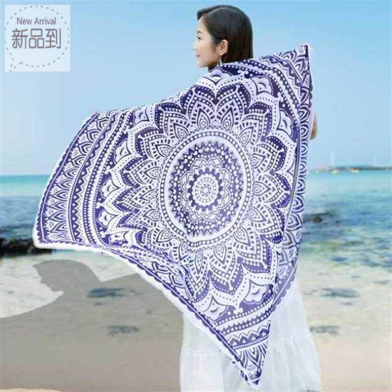 Wrap printing gauze skirt flower round cloth sand mat wrap towel holiday light seaside scarf beach mat