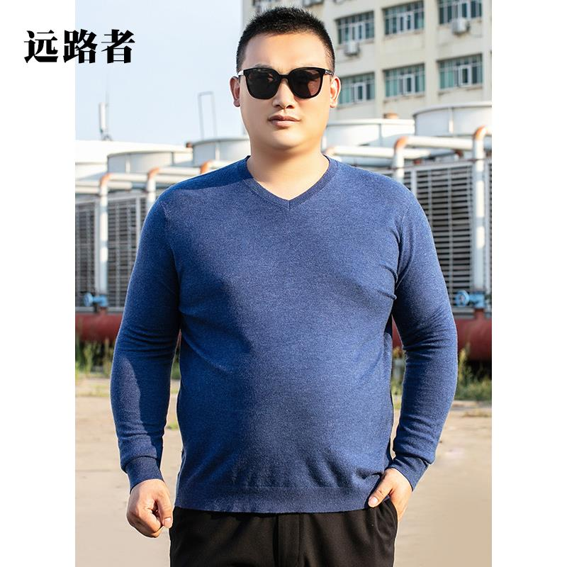 Mens fat V-neck T-shirt plus plus size fat man solid color bottom coat oversize thin sweater stretch sweater