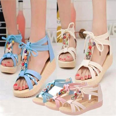 女鞋水钻复古夹趾女生凉鞋运动风女包后跟仙女风女孩平底夏潮韩版