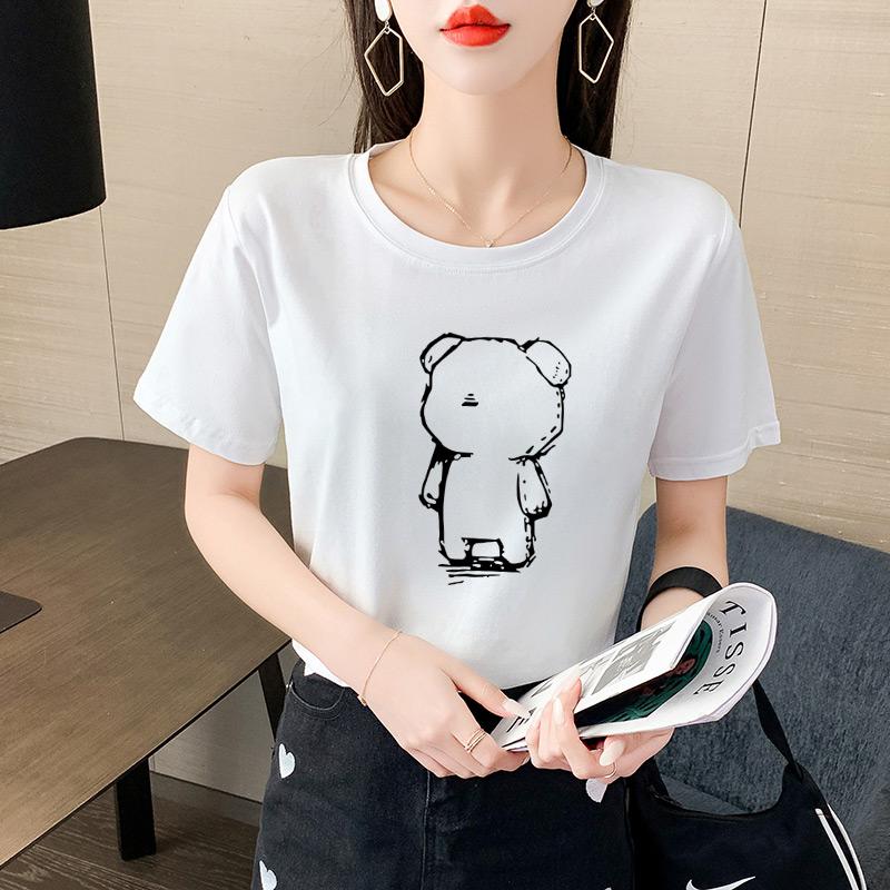 2021年夏季韩版新款圆领卡通图案短袖t恤女宽松纯棉百搭上衣ins潮