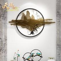 新中式铁艺玄关壁饰酒店背景墙挂件装饰金属创意家居客厅墙饰壁挂