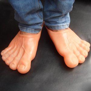 创意搞怪赤脚大仙拖鞋仿真光脚板大脚丫硅胶五个脚趾鞋子抖音同款