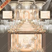 高端香槟色INS风大理石婚礼舞台背景设计婚庆布置策划psd效果图99
