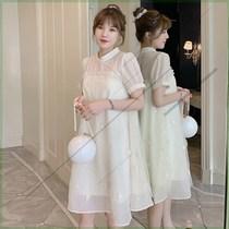 加大码女装夏季新款胖妹妹宽松显瘦刺绣雪纺连衣裙中式改良旗袍裙