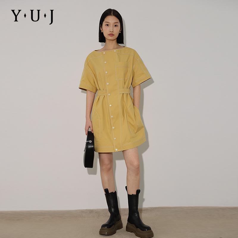 YUJ遇见 2021新款夏收腰气质圆领衬衫裙宽松休闲连衣裙设计感小众