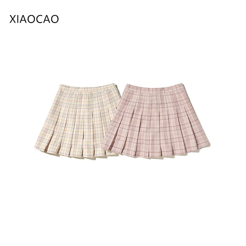 2019夏季款韩版显瘦学院风粉色小清新格子百褶a字简约女短半身裙