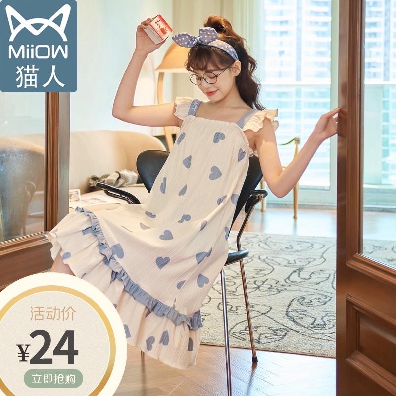 猫人睡裙女夏季纯棉清新卡通可爱吊带睡衣春夏天薄款公主风家居服