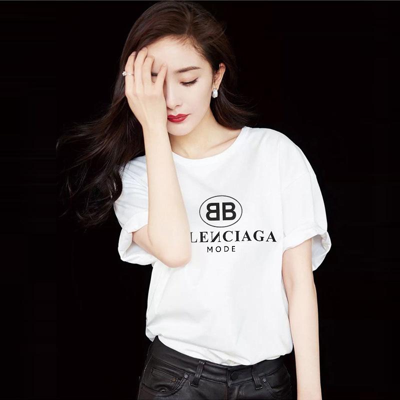 (用1元券)2019夏新款纯棉短袖宽松纯白色t恤