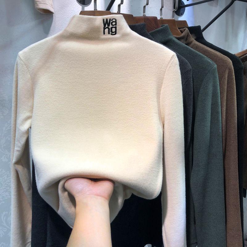 薄款/双面绒加厚磨毛半高领米色打底衫女秋冬新款韩版长袖上衣女