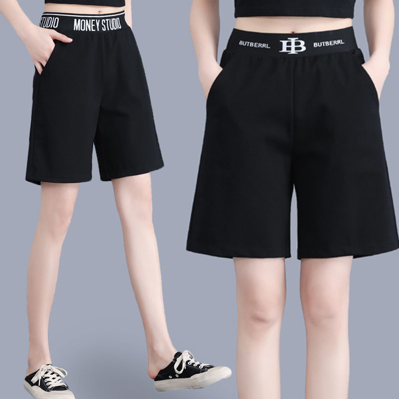 Large sports shorts womens summer 2021 new loose high waist fat mm five point casual pants wide leg pants fashion