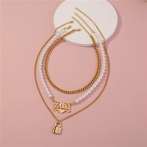 European and American new popular elegant smooth lock neckchain pearl Gothic letter pendant multi layer Necklace