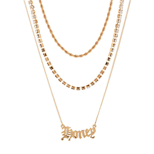 European and American Jewelry texture twist chain Gothic letter pendant I Necklace simple diamond grab chain sweater chain