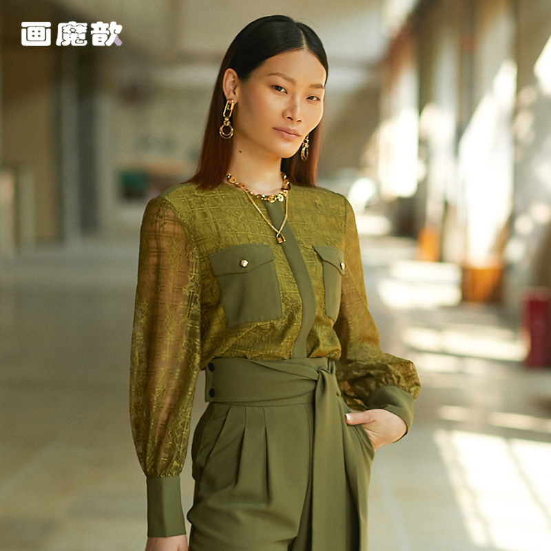 Huamoxin 2021 spring dress Plaid lace contrast pocket collage round neck Pullover Long Sleeve Shirt