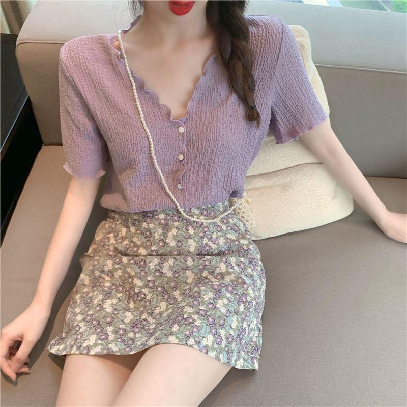 两件套套装v领紫色上衣女夏季新款褶皱洋气花边短袖雪纺衫半身裙