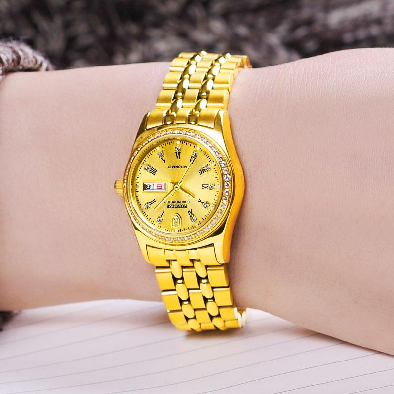2021新款瑞士复古小金表女纯金色黄金色手表十大名牌男士机械表