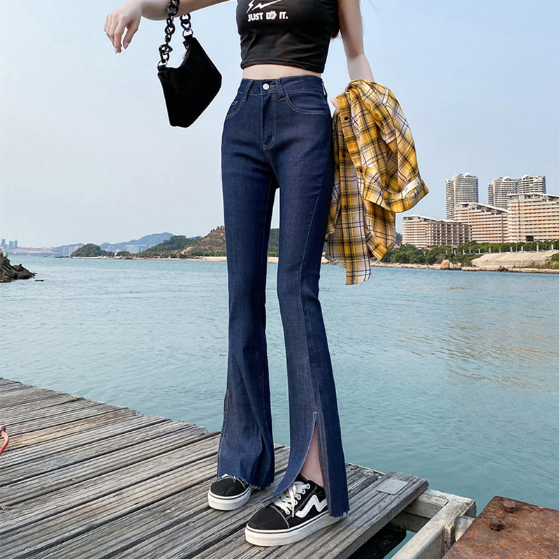 Yin wenshina Tencel jeans womens spring and summer high waist slim straight tube open fork loose floor sweeping flared pants