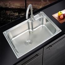 不锈钢水槽洗碗池淘菜盆一体加厚洗手水池套餐304厨房洗菜盆单槽