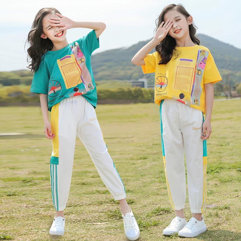 女童夏季套装2021新款儿童洋气中大童时髦小女孩夏装两件套运动套