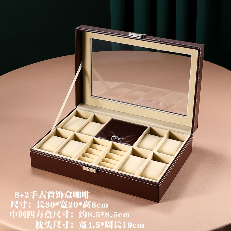 高档带锁收珠盒手表盒戒指袖口手镯项链首纳盒欧式公主饰宝盒奢华