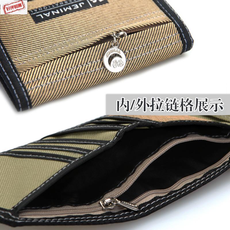 . Mens canvas short three fold simple wallet student zipper change boy childrens multifunctional folding cloth money