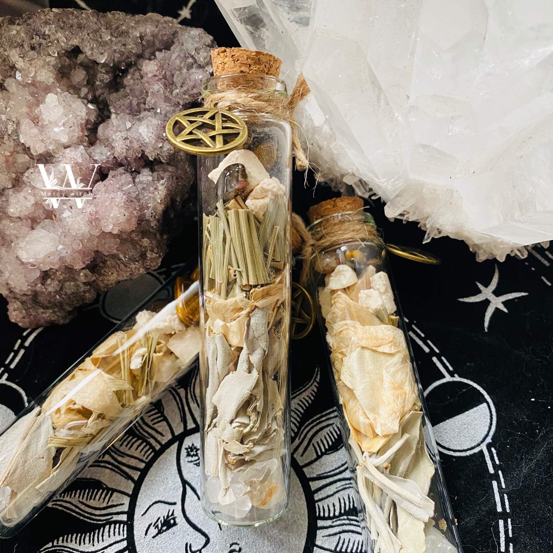 【默西】女巫魔法草药许愿磨咒瓶 财运旺桃花保护 幸运护身符