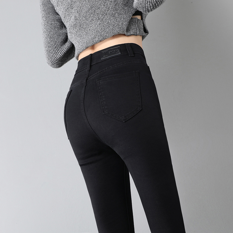 Black jeans women's cropped pants winter spring 2020 new high waist Plush 2019 skinny pants
