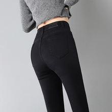 Black jeans women's Capris new high waist Plush elastic tight Leggings in autumn and winter 2019