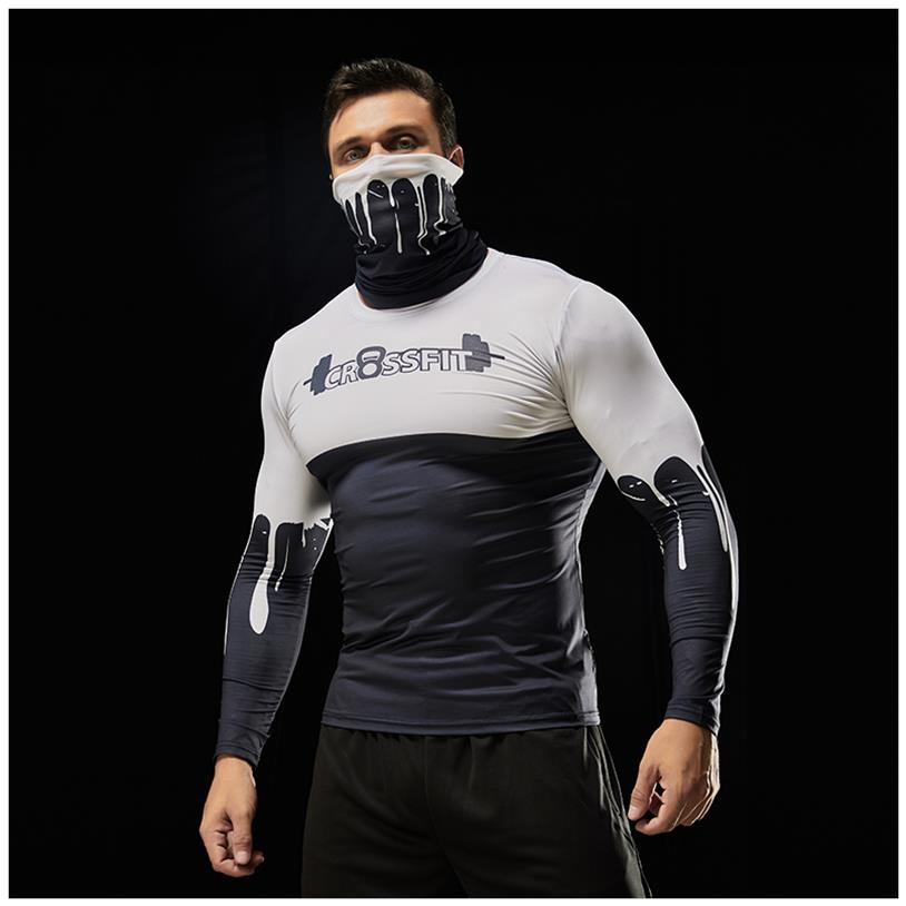 . Autumn and winter bodybuilding clothes long sleeve t-shirt mens fast drying sports training clothes slim neck scarf high elastic hit