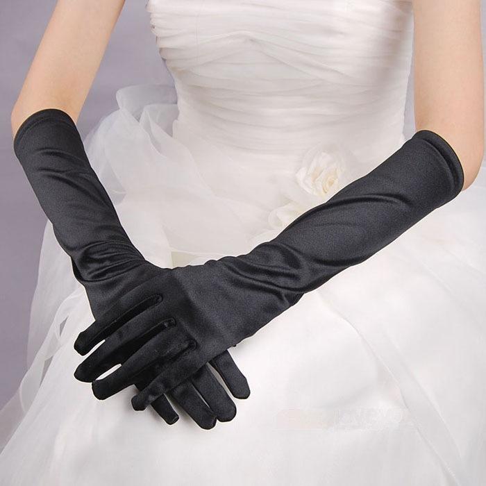 有指光板手套黑色素面手套缎面手套黑色婚纱礼服晚宴演出手套