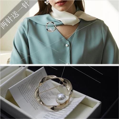 Japanese and Korean geometric ring small fragrance Pearl Brooch round Z-shaped pin sweater cardigan button simple decoration for men and women