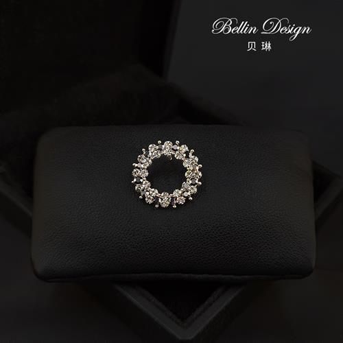 Japanese and Korean Crystal Brooch accessories simple and versatile anti light buckle collar pin circular geometric pattern Brooch 3389