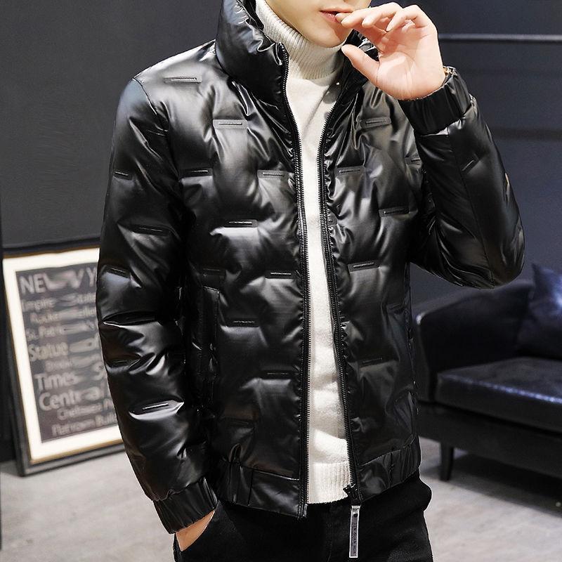 w18年新款羽绒棉服男士短款冬季装潮流立领时尚亮面轻薄外套潮牌