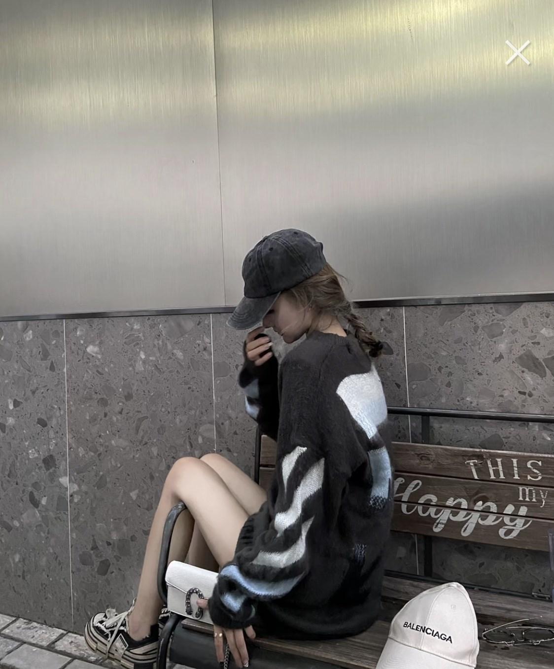 張智研OW新作配色jure版巨愛ゆったりした怠惰なセーター女性秋冬外着馬海毛