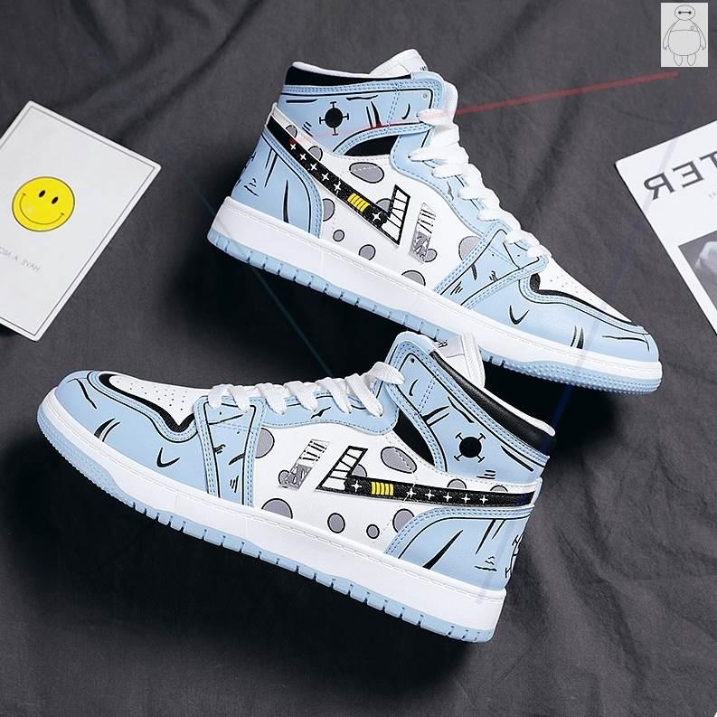 秋季2021年新款男鞋空军一号青少年运动潮鞋韩版潮流高帮增高板鞋