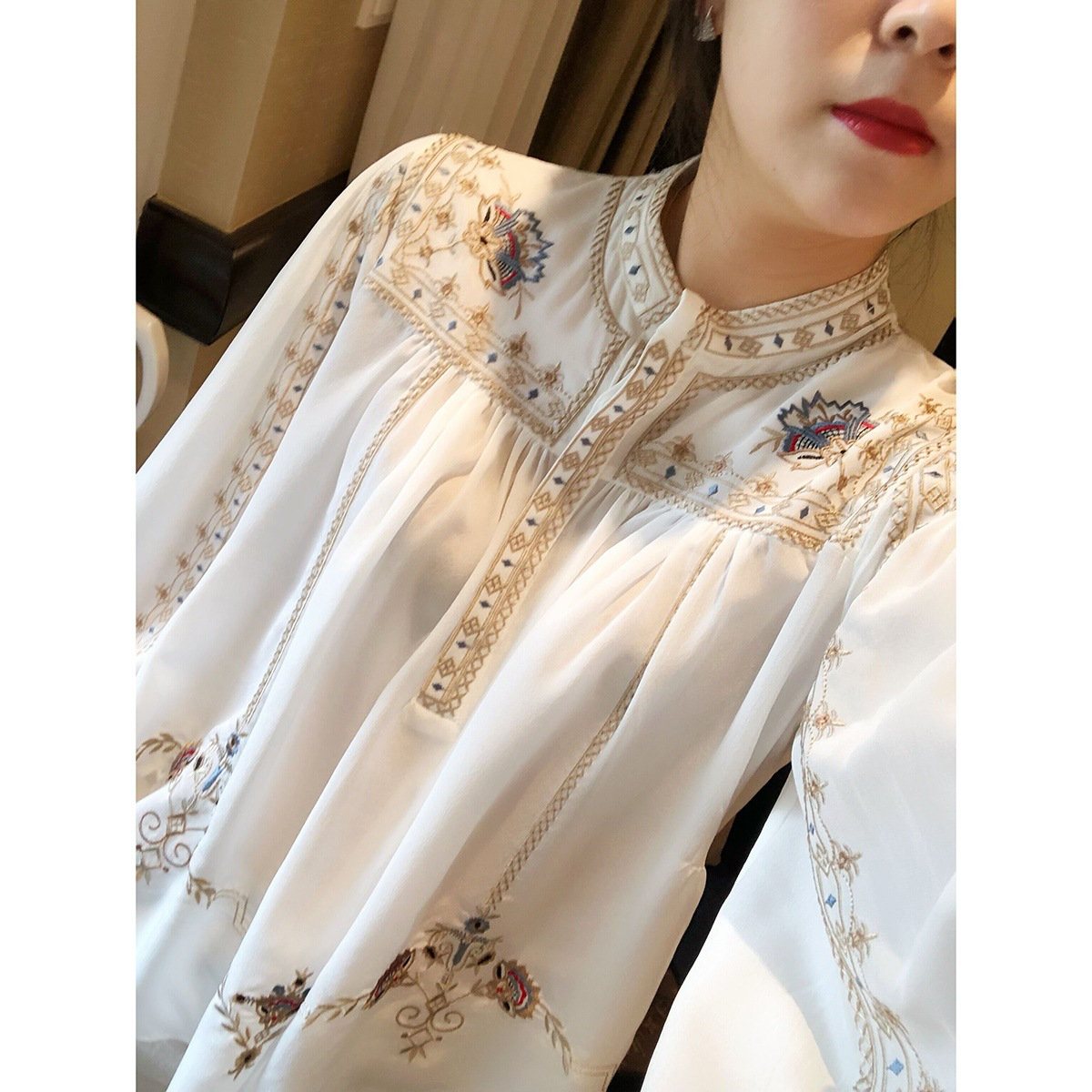 Fashion printed shirt womens 2021 spring and summer new retro Bohemian Style Lantern Sleeve Shirt batch
