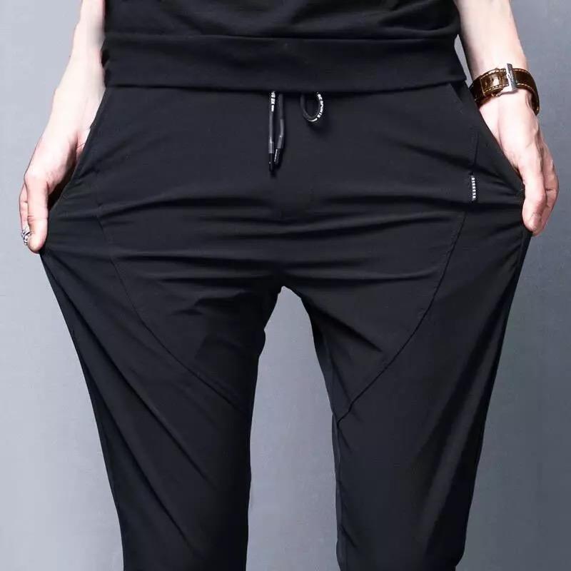 夏季薄款男士长裤运动裤修身裤子男装韩版潮休闲裤小脚哈伦裤男裤