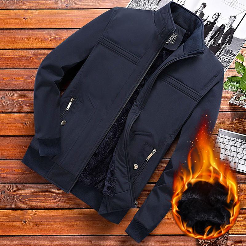 爸爸冬装外套男中老年男装秋装加绒加厚秋冬棉衣中年男士夹克上衣